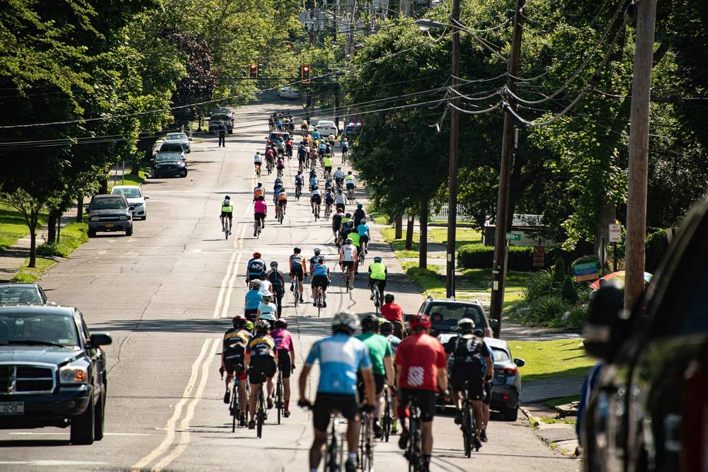 People biking on street in ulster county