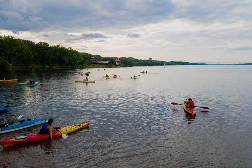 People kayaking on the hudson river