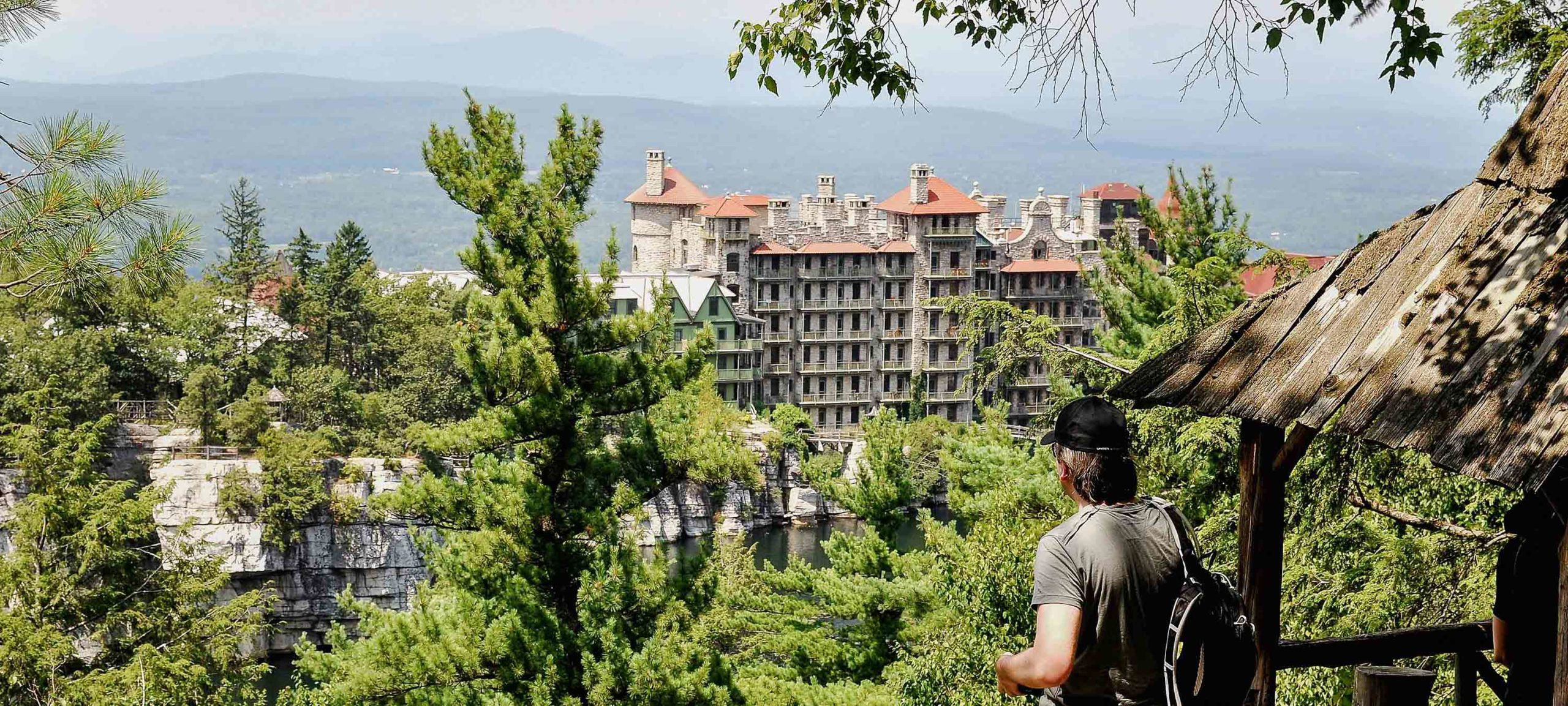 Person overlooking Mohonk Mountain House