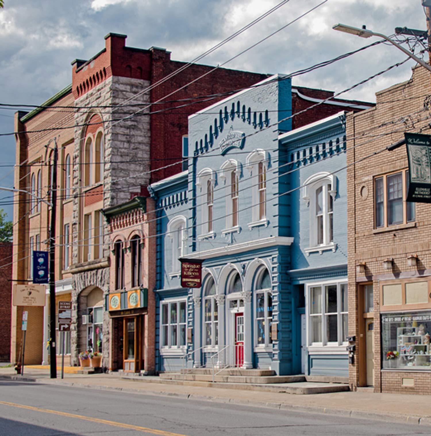 Buildings in a street in Ellenville